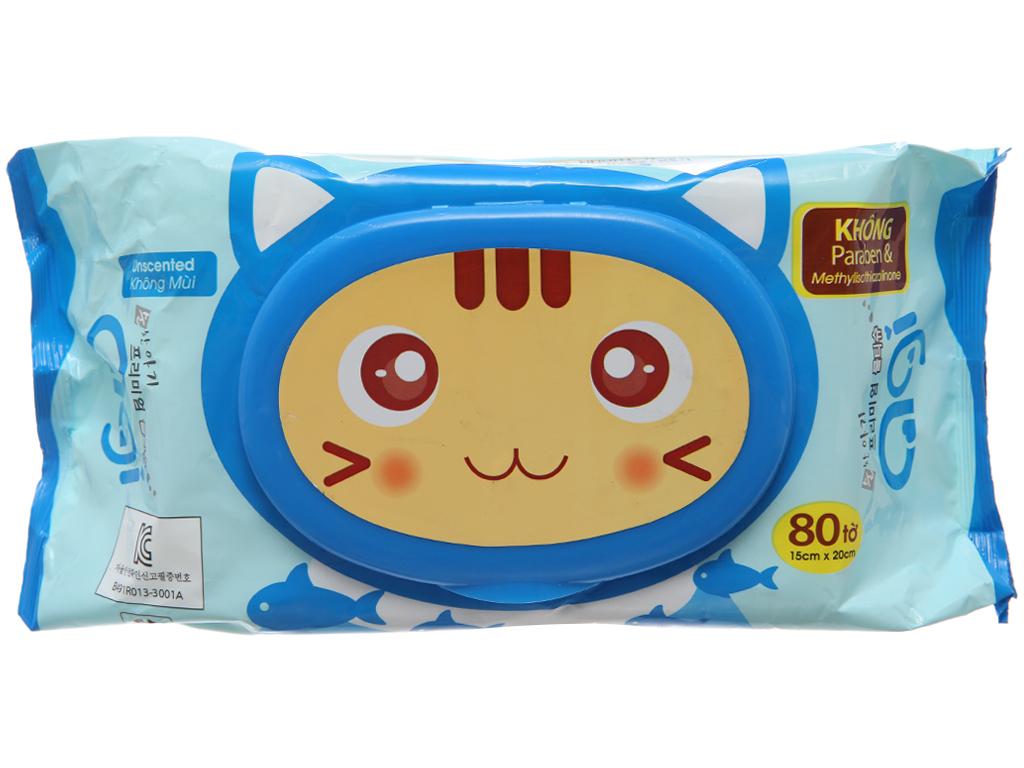 Khăn ướt em bé Agi con mèo không mùi gói 80 miếng 2