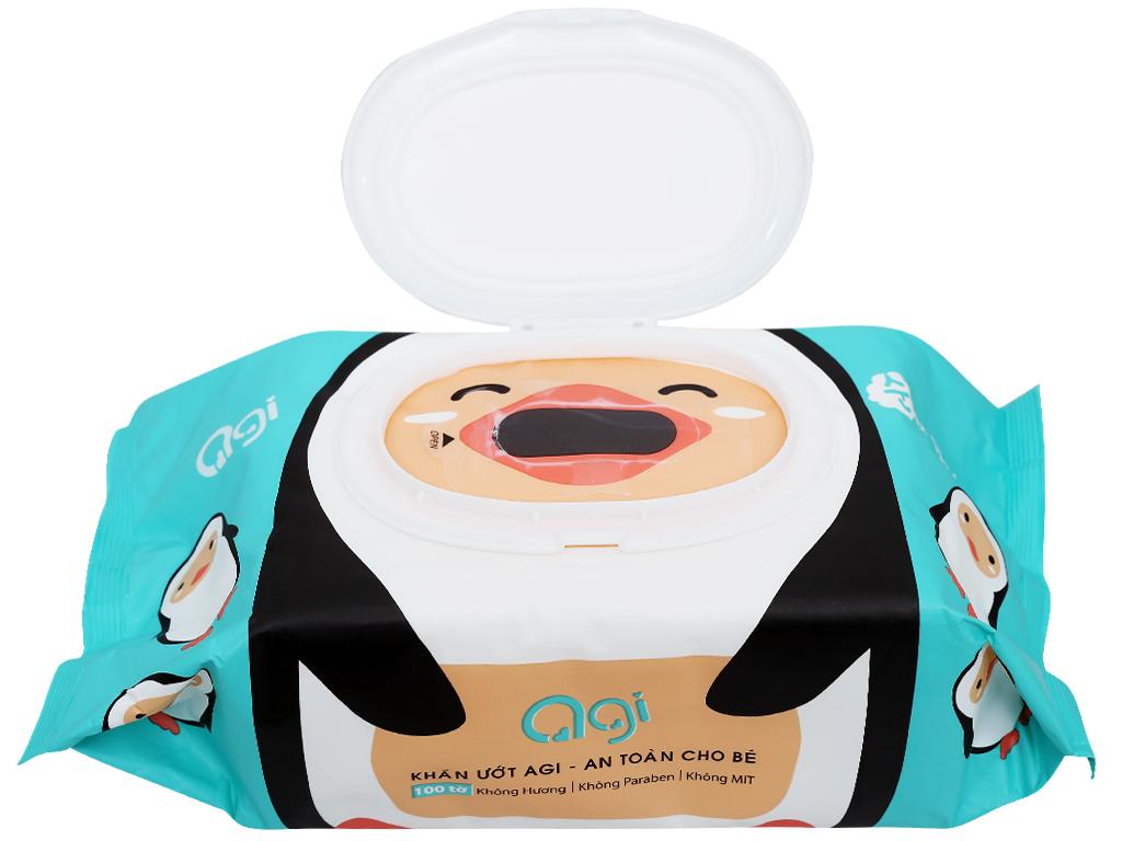 Khăn ướt em bé Agi con ong/chim cánh cụt không mùi gói 100 miếng 7