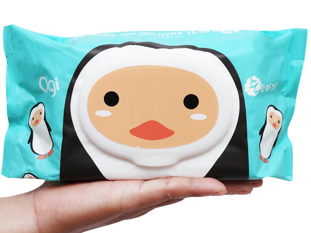 Khăn ướt em bé Agi con ong/chim cánh cụt không mùi gói 100 miếng 8