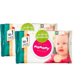 Combo 2 khăn ướt Mamamy chống hăm, rôm sẫy không mùi gói 80 tờ