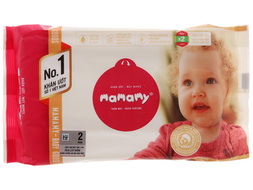 Khăn ướt em bé Mamamy không nắp thơm mát gói 80 miếng 1