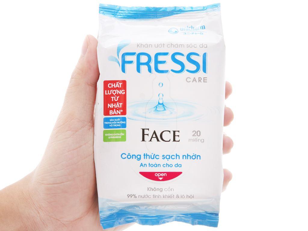 Khăn ướt chăm sóc da Fressi Care Face hương tự nhiên gói 20 miếng 5