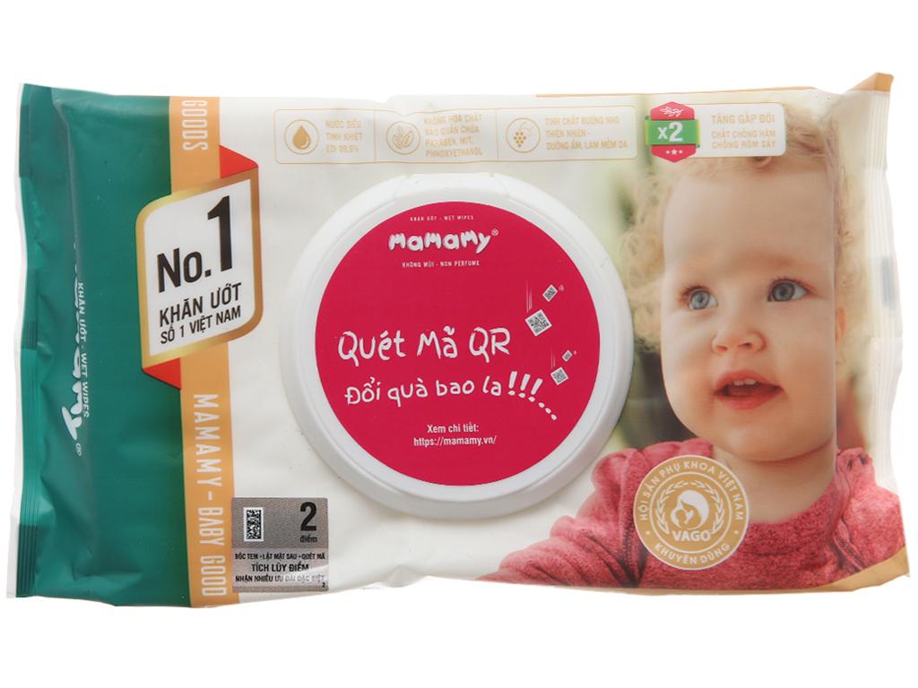 Khăn ướt Mamamy không mùi gói 80 miếng 1