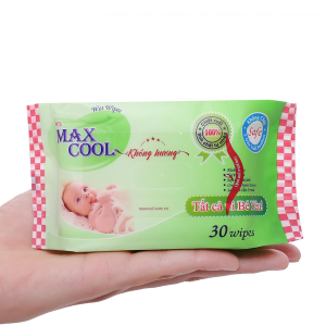 Khăn ướt em bé Max Cool không mùi gói 30 miếng
