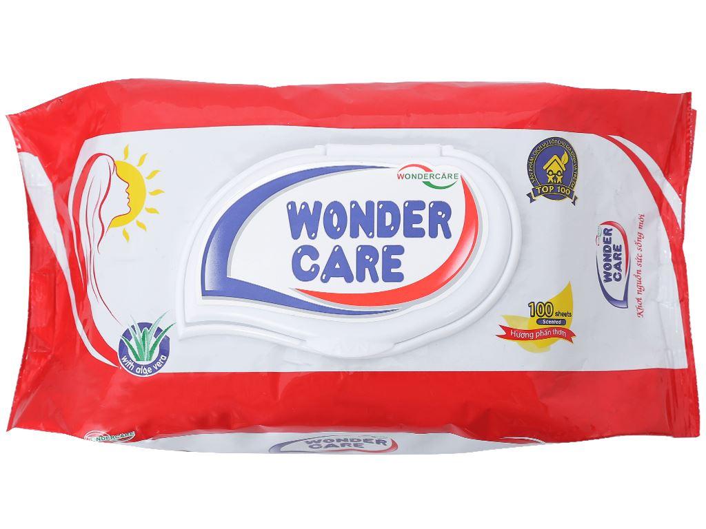 Khăn ướt Wonder Care hương phấn thơm gói 100 miếng 1