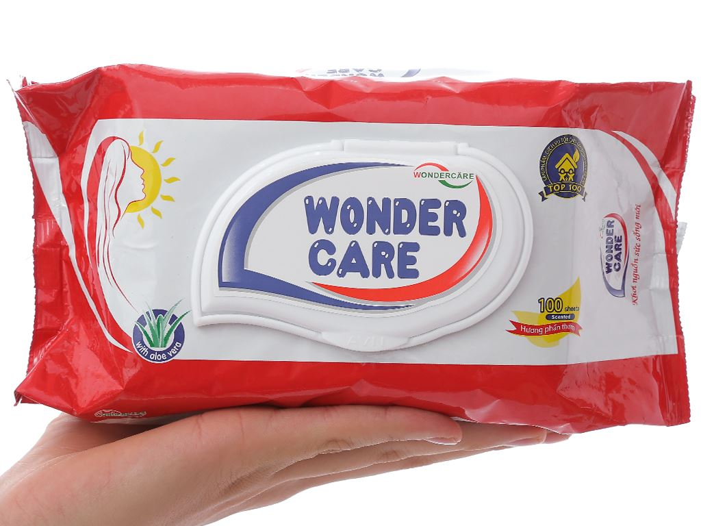 Khăn ướt Wonder Care hương phấn thơm gói 100 miếng 4
