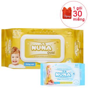 Khăn ướt em bé Nuna Gold không mùi gói 80 miếng