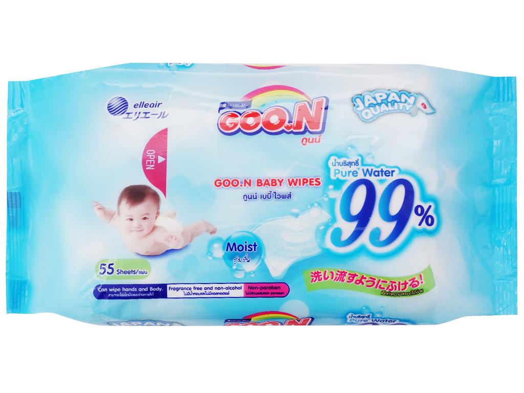 Hộp khăn ướt em bé GOO.N không mùi 55 miếng 5