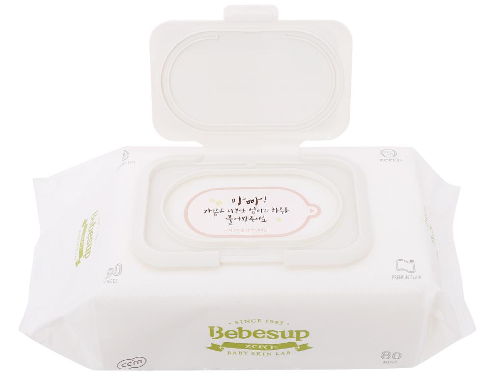 Khăn ướt em bé Bebesup Zero hương tự nhiên 80 miếng 6