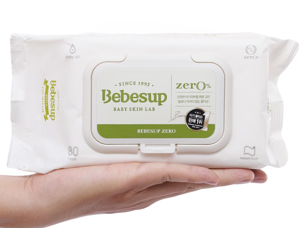 Khăn ướt em bé Bebesup Zero hương tự nhiên 80 miếng 8