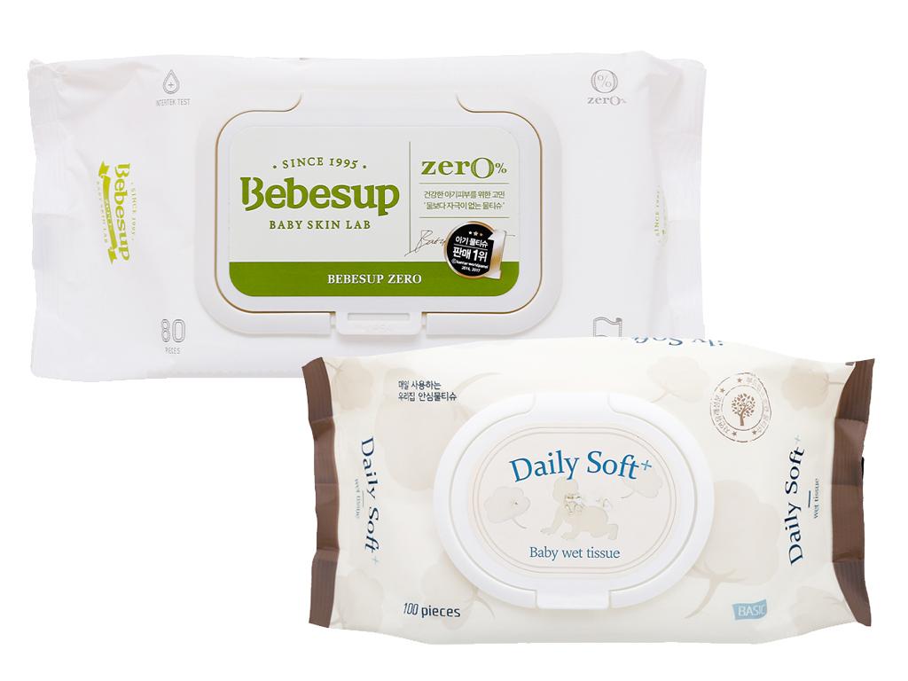 Khăn ướt em bé Bebesup Zero hương tự nhiên 80 miếng 1