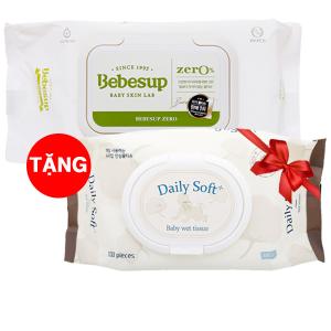 Khăn ướt em bé Bebesup Zero hương tự nhiên 80 miếng