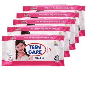 Combo 5 gói khăn ướt Teen Care màu hồng hương dịu nhẹ (20 miếng/gói)