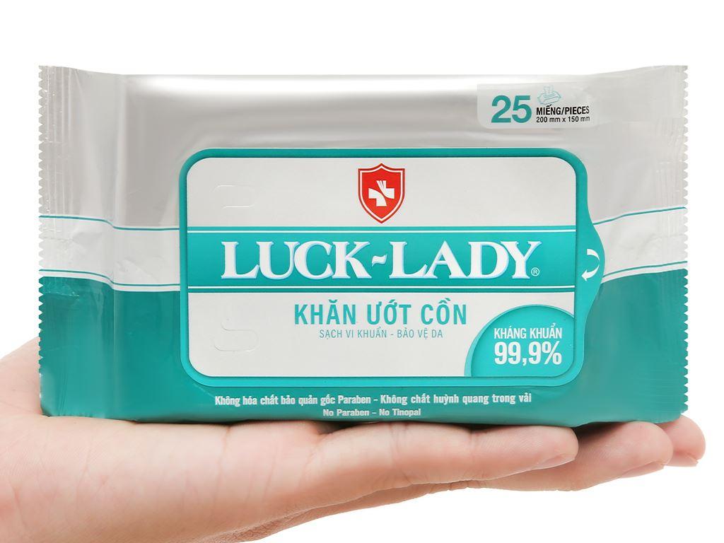 Khăn ướt cồn Luck Lady Lady sạch khuẩn bảo vệ da gói 25 miếng 6