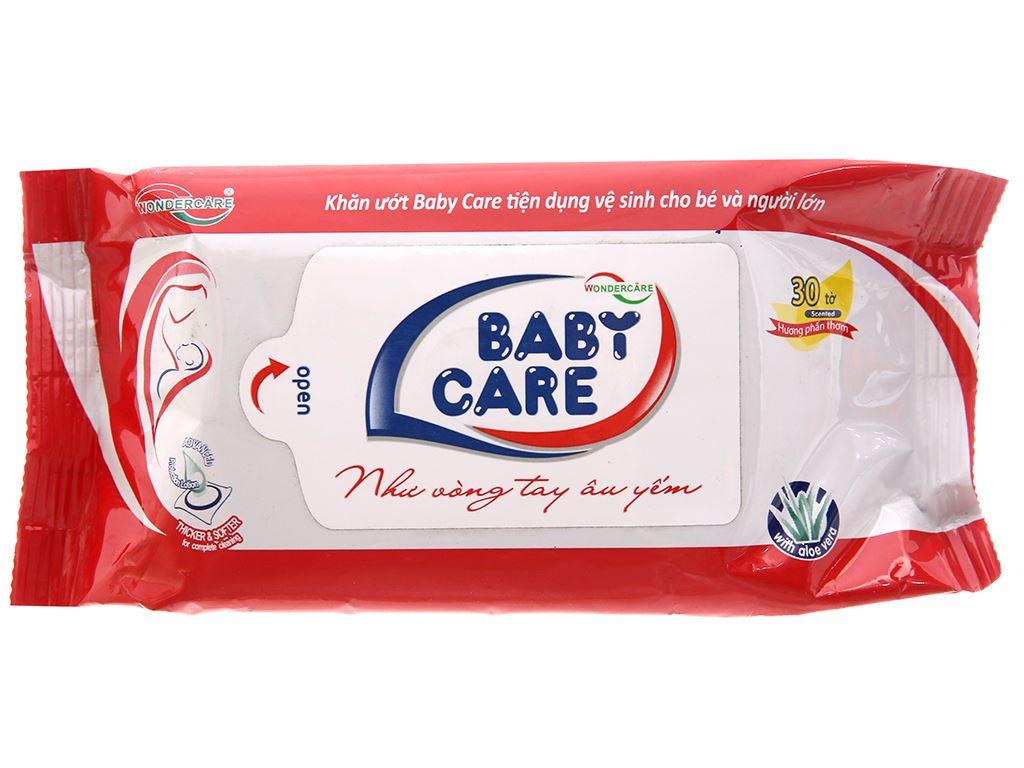 Khăn ướt em bé Baby Care phấn thơm gói 30 miếng 2