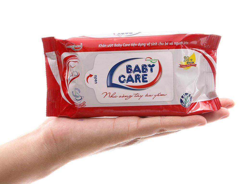 Khăn ướt em bé Baby Care phấn thơm gói 30 miếng 4