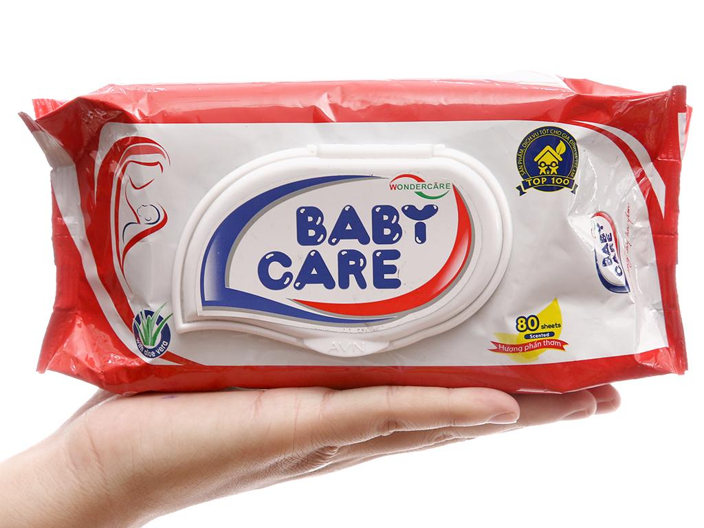 Khăn ướt em bé Baby Care phấn thơm gói 80 tờ 5