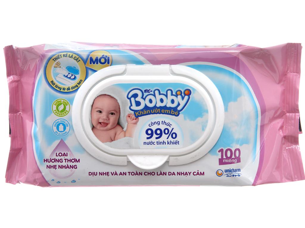 Khăn ướt em bé Bobby hương thơm nhẹ nhàng gói 100 miếng 2