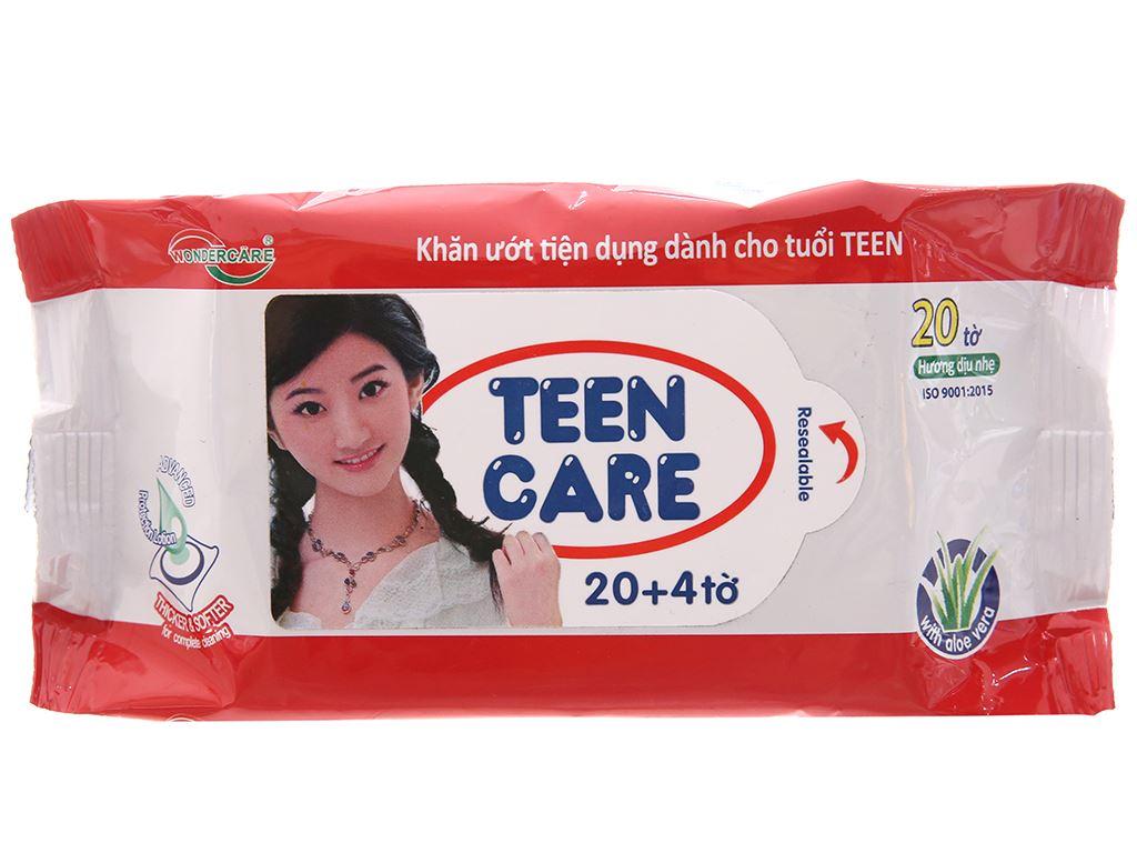 Khăn ướt Teen Care đỏ hương dịu nhẹ gói 20 tờ 2