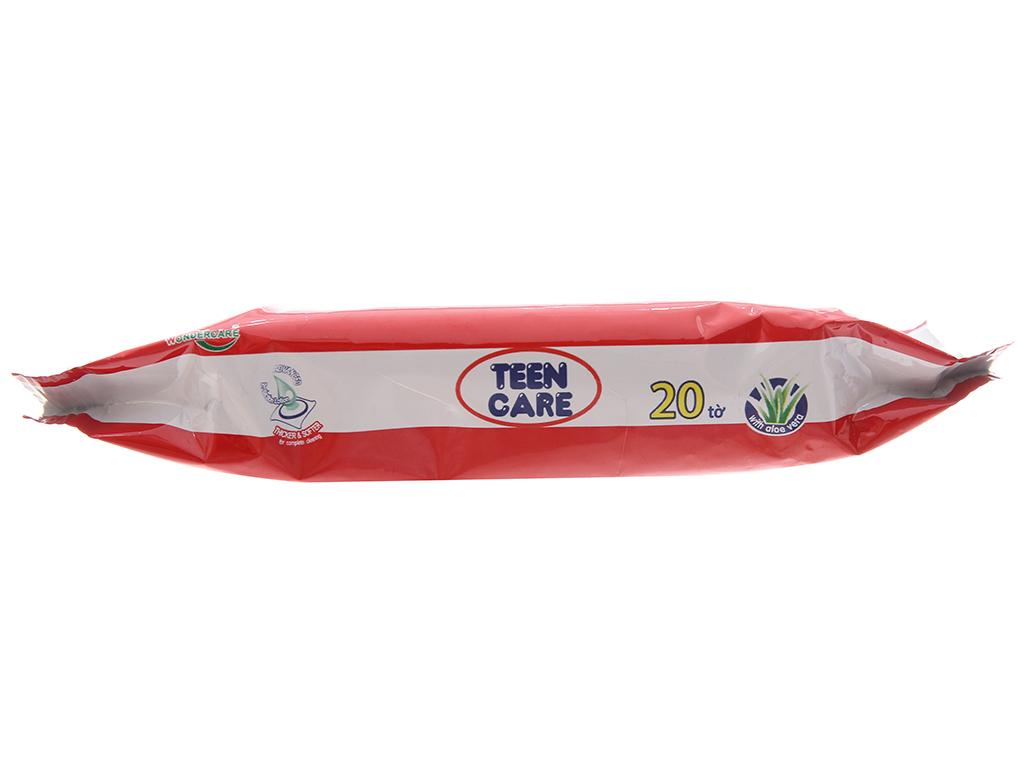 Khăn ướt Teen Care đỏ hương dịu nhẹ gói 20 tờ 4