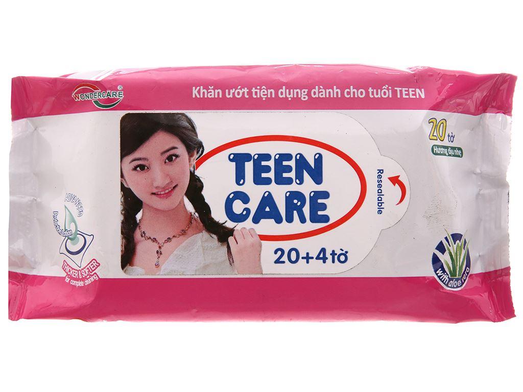 Khăn ướt Teen Care hồng hương dịu nhẹ gói 20 miếng 2