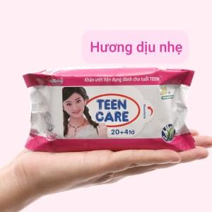 Khăn ướt Teen Care hồng hương dịu nhẹ gói 20 miếng (tặng thêm 4 miếng)