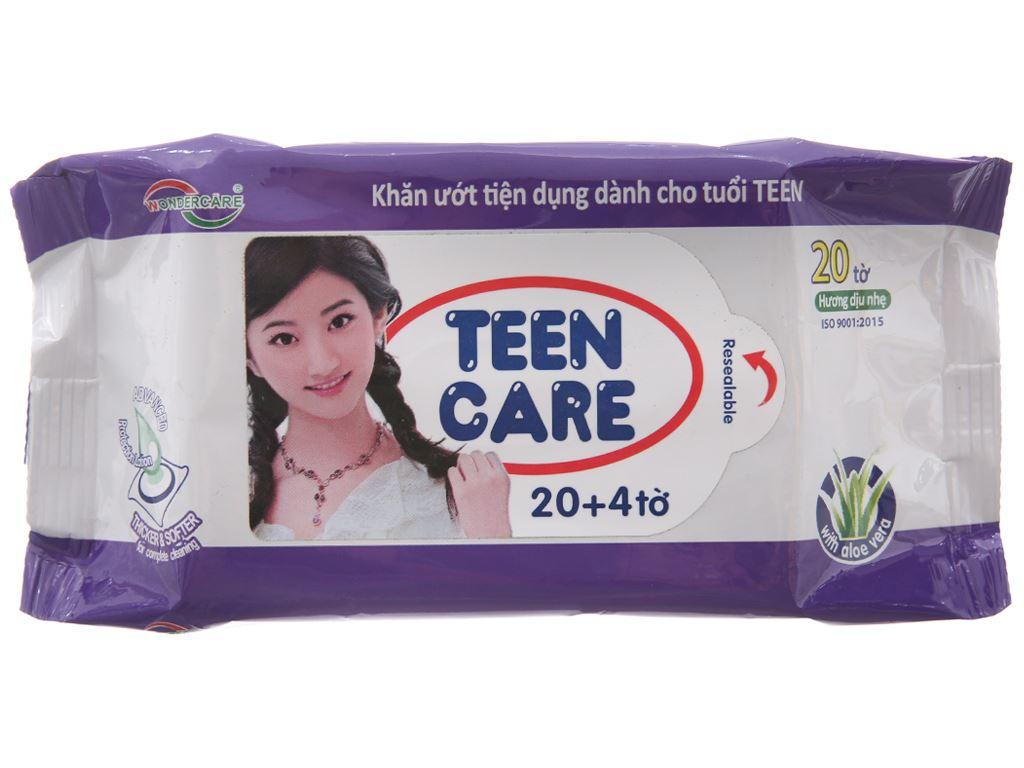 Khăn ướt Teen Care tím hương dịu nhẹ gói 20 miếng (tặng thêm 4 miếng) 2