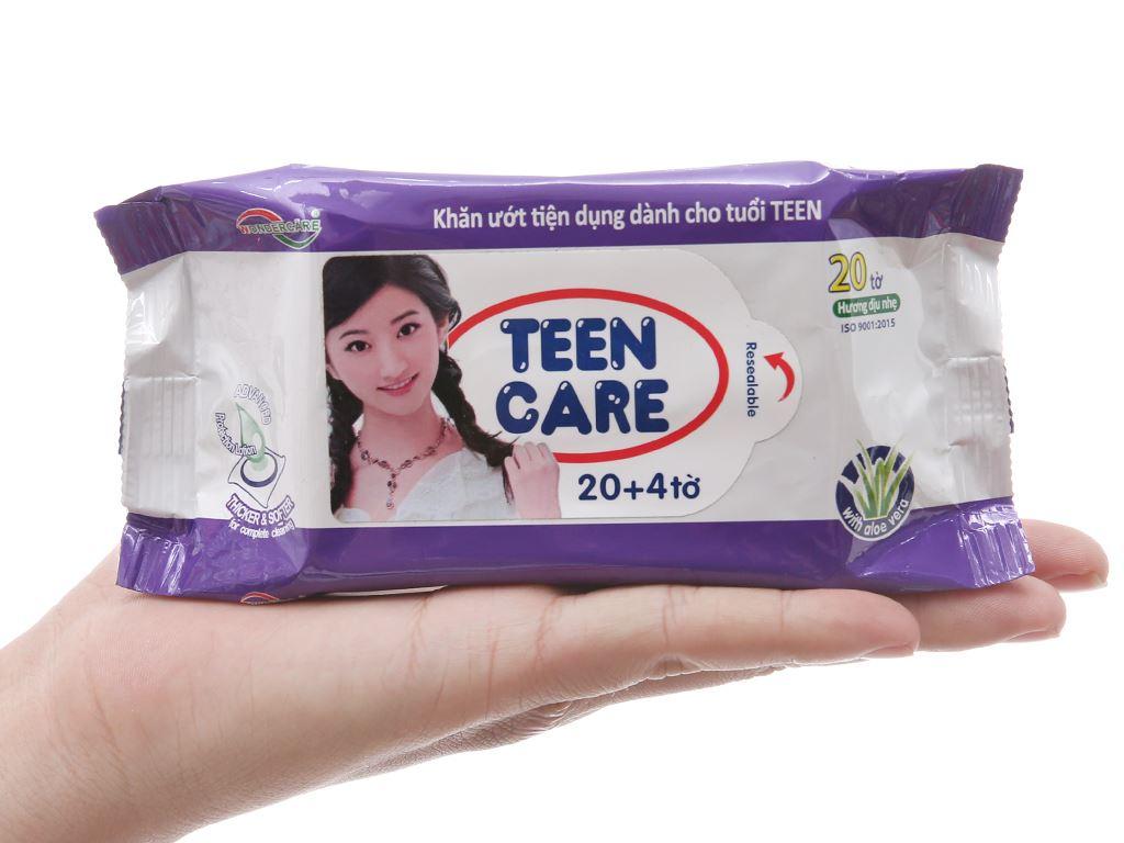 Khăn ướt Teen Care tím hương dịu nhẹ gói 20 miếng (tặng thêm 4 miếng) 4