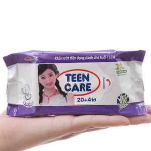 Khăn ướt Teen Care tím hương dịu nhẹ gói 20 miếng (tặng thêm 4 miếng)
