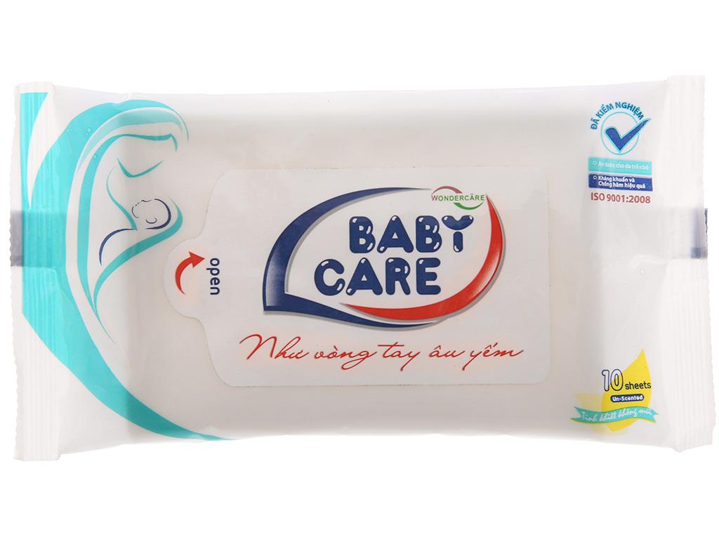 Khăn ướt em bé Baby Care không mùi gói 10 tờ 2