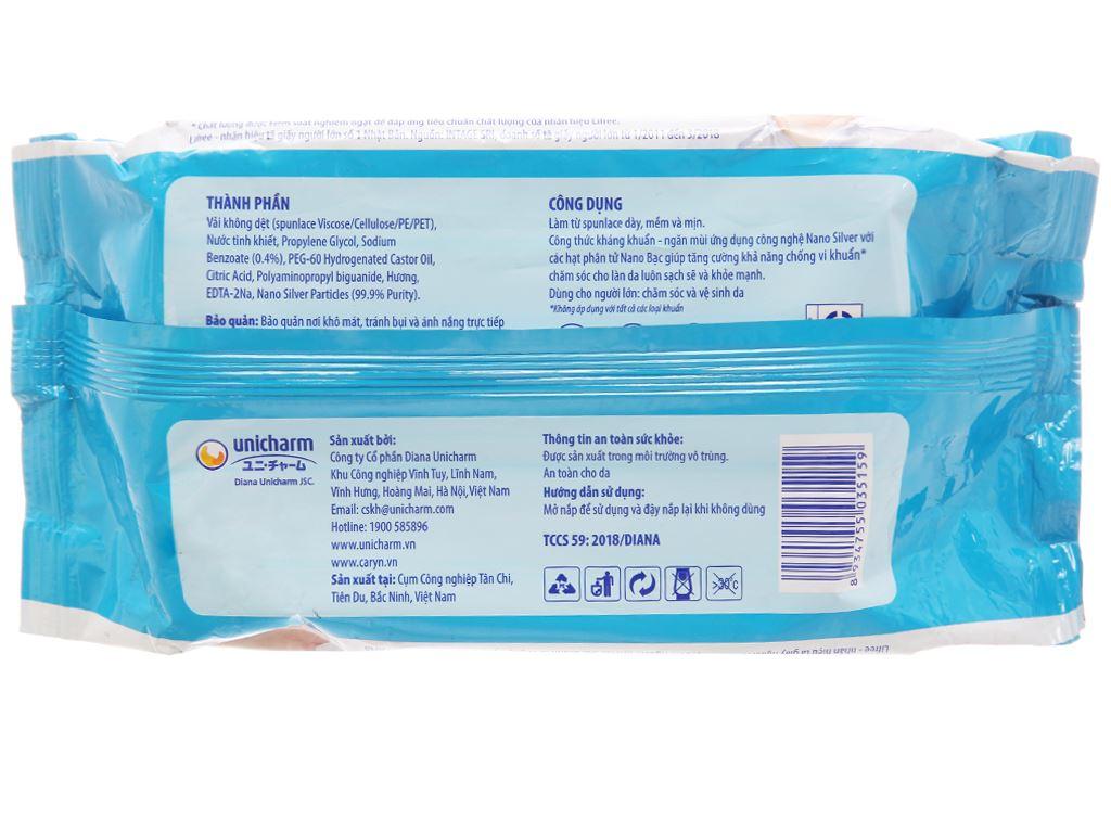 Khăn ướt người lớn Caryn nano bạc kháng khuẩn gói 100 tờ 3