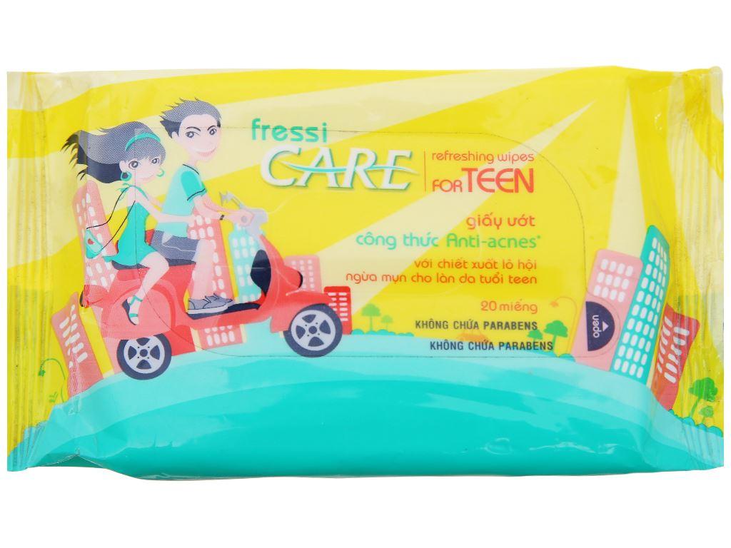Khăn ướt Fressi Care For Teen hương dịu nhẹ bịch 20 miếng 3