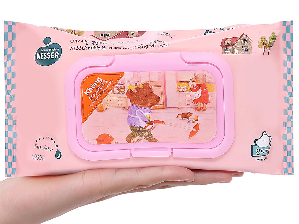Khăn ướt Wesser nắp hồng không mùi gói 80 miếng 4