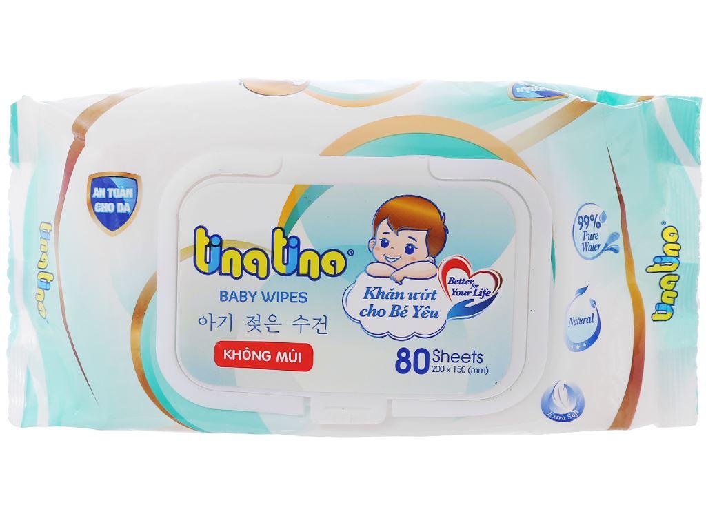 Khăn ướt em bé Tina Tino không mùi gói 80 miếng 1