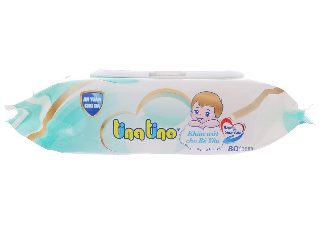 Khăn ướt em bé Tina Tino không mùi gói 80 miếng 3