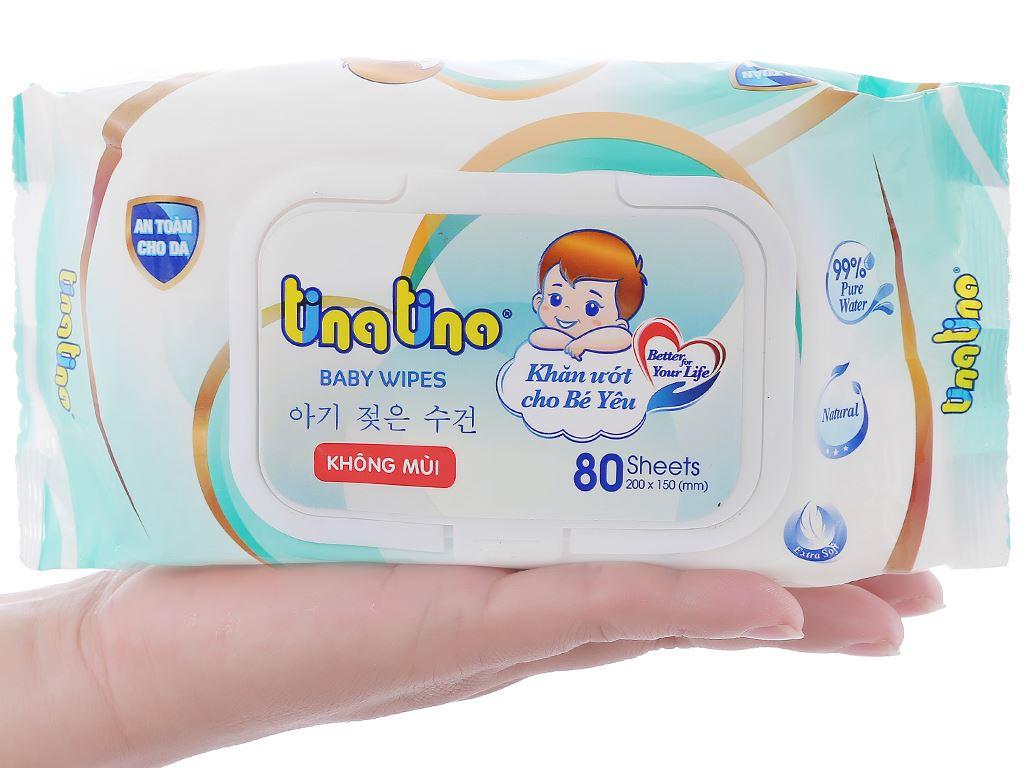 Khăn ướt em bé Tina Tino không mùi gói 80 miếng 4