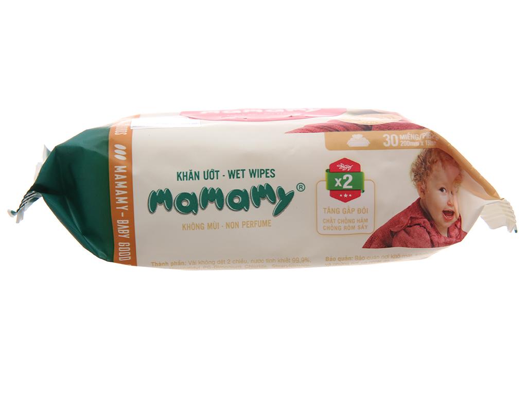 Khăn ướt em bé Mamamy không mùi gói 30 miếng 5