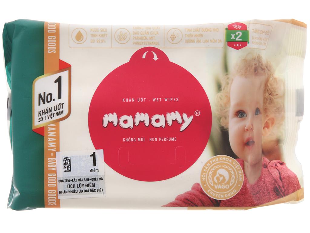 Khăn ướt em bé Mamamy không mùi gói 30 miếng 2