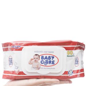 Khăn ướt em bé Baby Care không mùi gói 80 tờ
