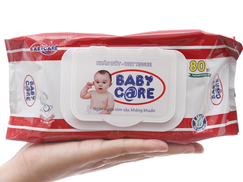 Khăn ướt em bé Baby Care không mùi gói 80 miếng 3