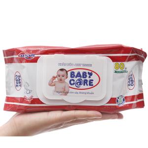 Khăn ướt em bé Baby Care không mùi gói 80 miếng