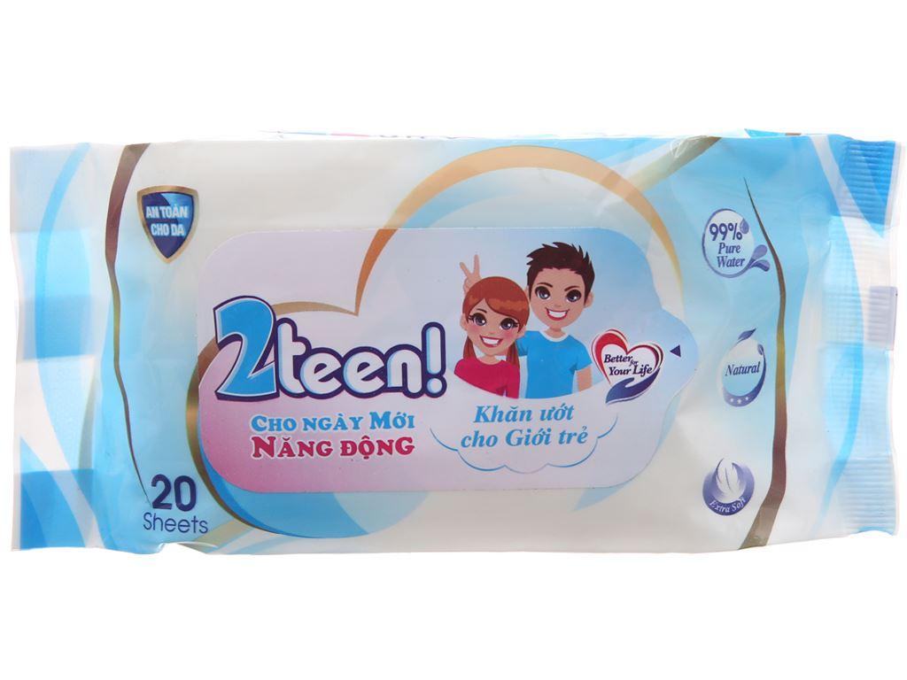 Khăn ướt cho tuổi Teen Nano 2teen hương tự nhiên gói 20 miếng 2