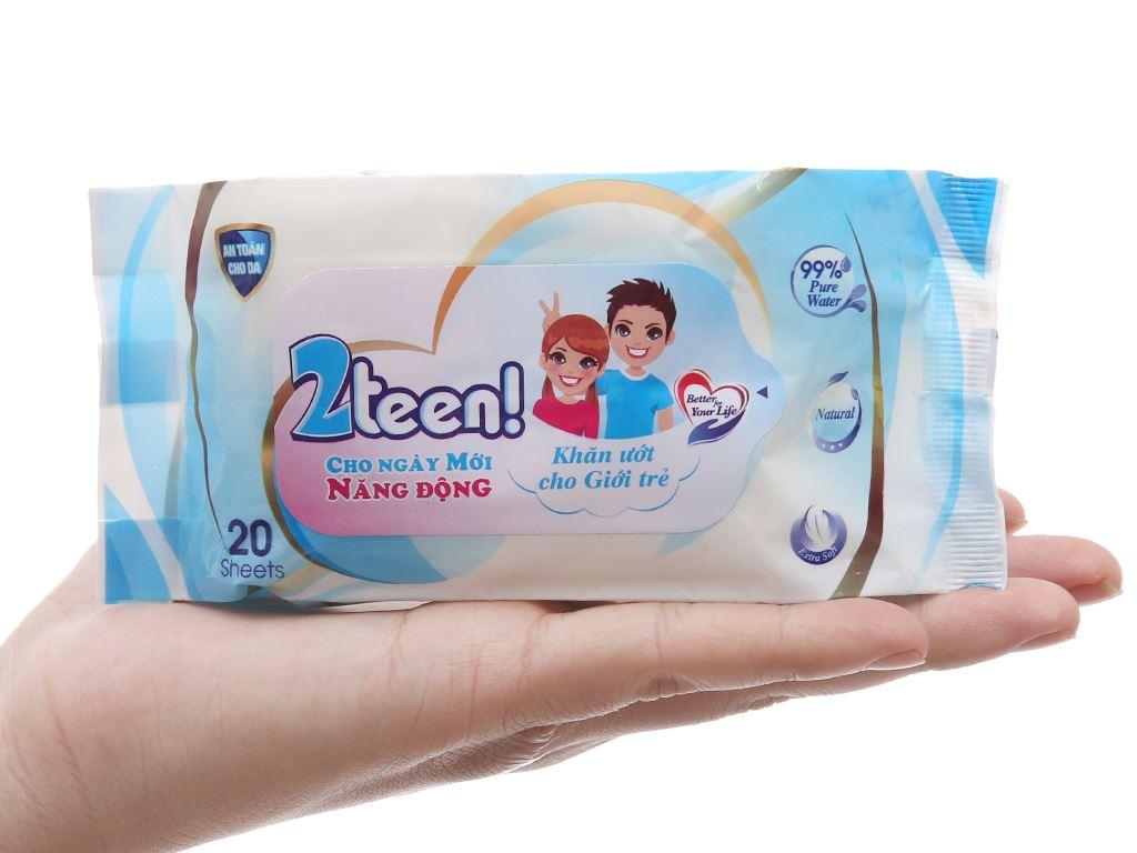 Khăn ướt cho tuổi Teen Nano 2teen hương tự nhiên gói 20 miếng 6