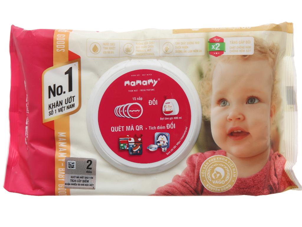 Khăn ướt em bé Mamamy thơm mát gói 80 miếng 2