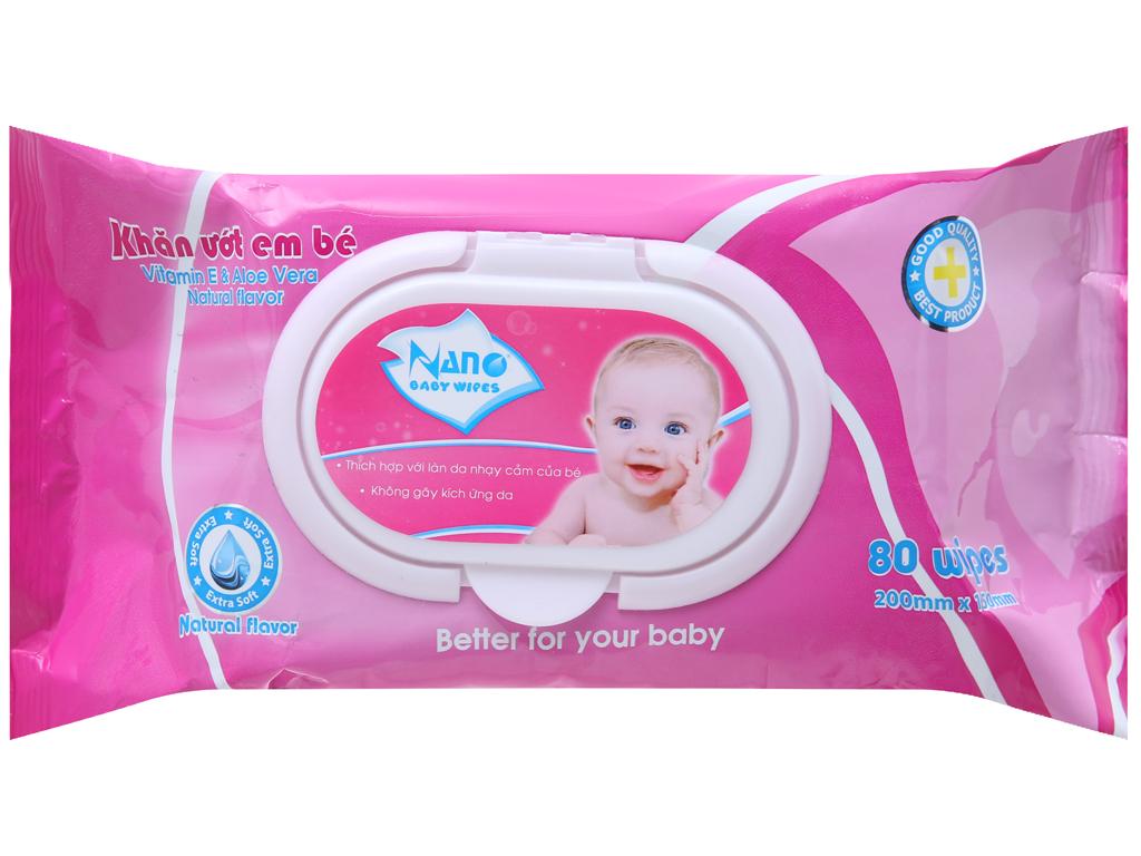 Khăn ướt em bé Nano Baby Wipes không mùi gói 80 tờ 2