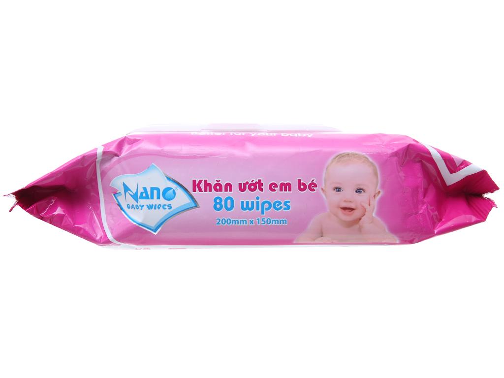 Khăn ướt em bé Nano Baby Wipes không mùi gói 80 tờ 4