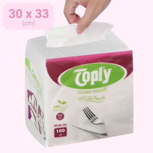 Khăn giấy ăn Toply 1 lớp gói 100 tờ