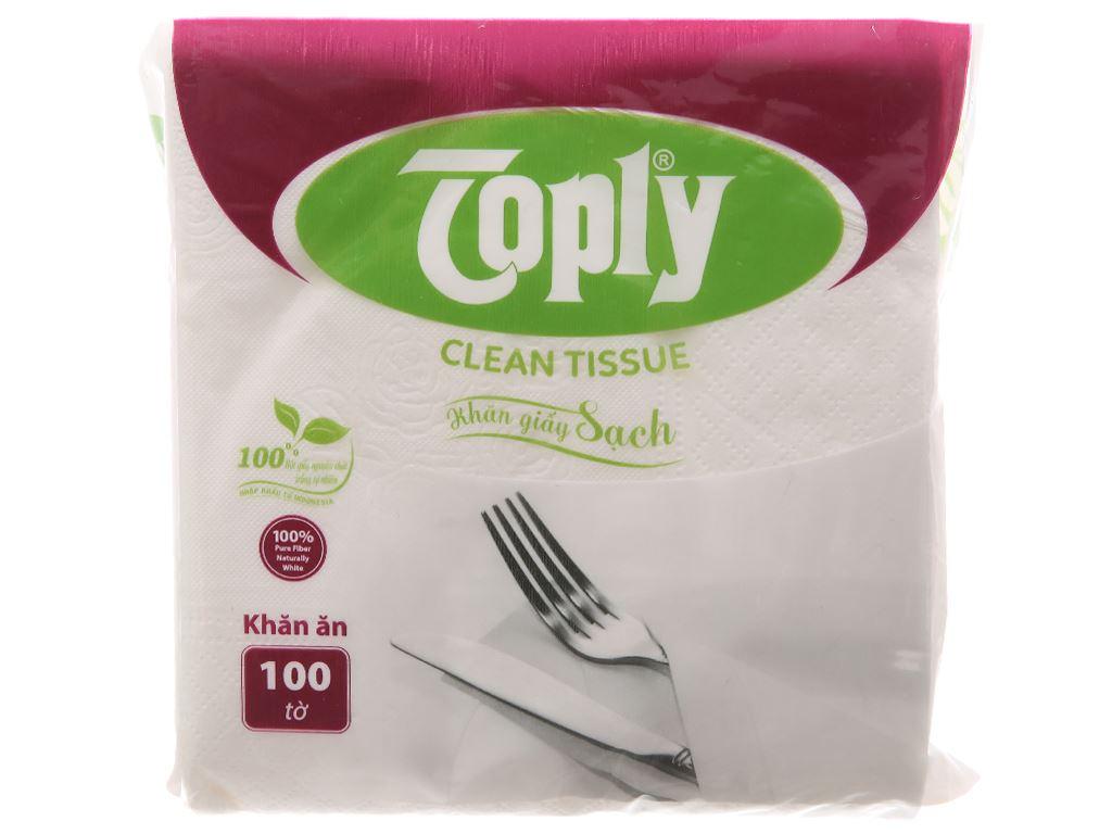 Khăn giấy ăn Toply gói 100 tờ 1 lớp 3