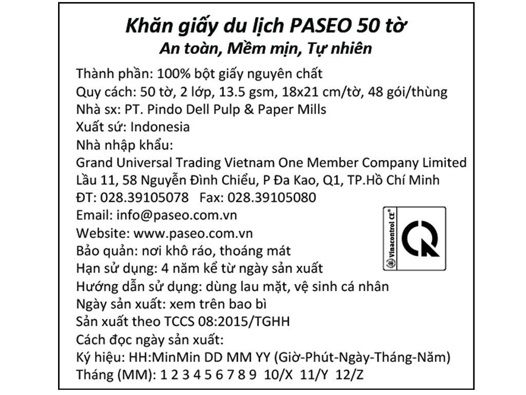 Khăn giấy du lịch Paseo Luxuriously Soft 2 lớp gói 50 tờ 5