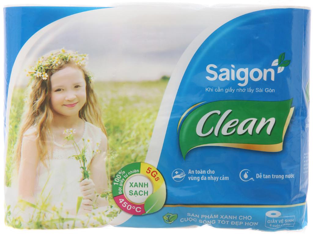 6 cuộn giấy vệ sinh Saigon Clean 2 lớp 2